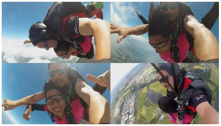 Iza Sanches skydiving
