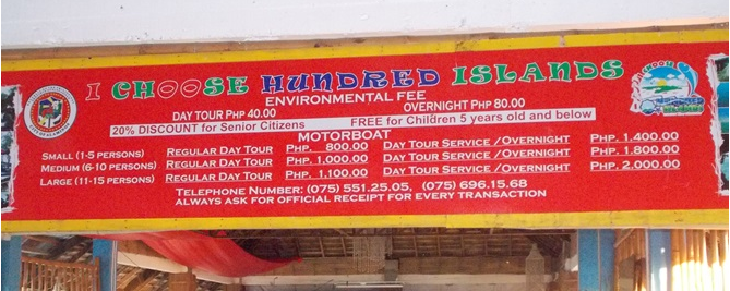 hundred island price list (boat, rental, tent day tour, overnight)